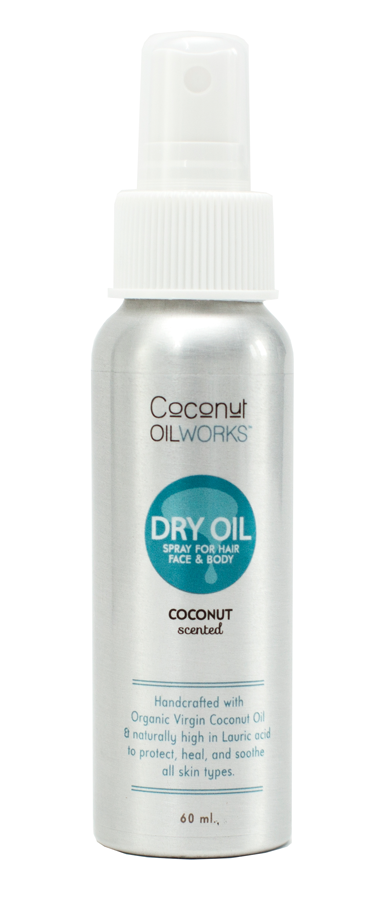 coconut scent coconut oil spray for hair, face, and body.