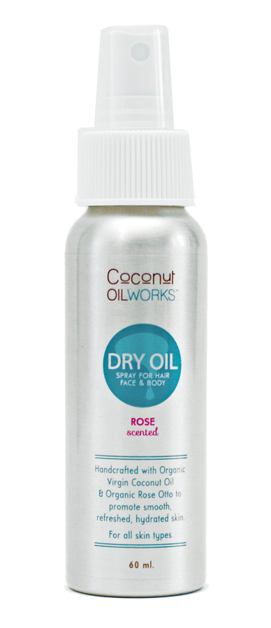 rose scent coconut oil spray for hair, face, and body.